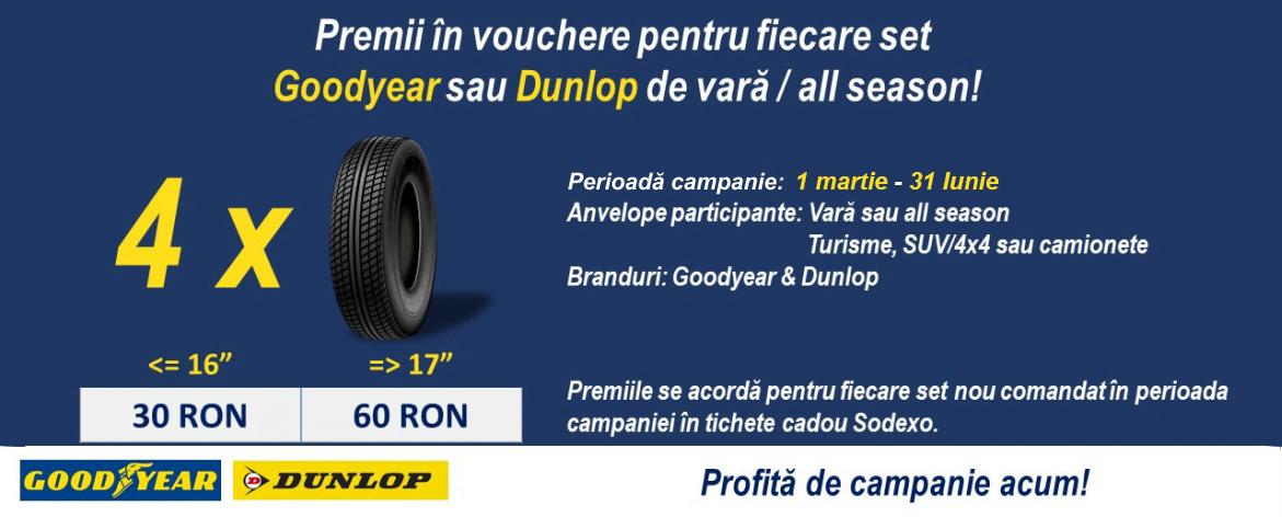 Promotie anvelope Dunlop sau Goodyear